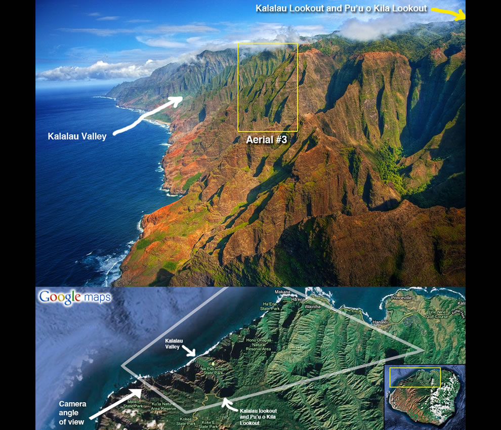 Napali Coast Morning by Chris Taleye Na Pali Coast aerial - orientation map