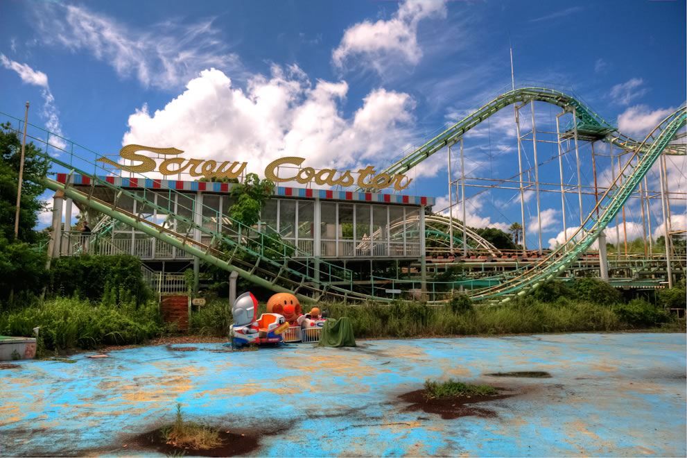 Nara Dreamland Screw Coaster, abandoned Japanese amusement park
