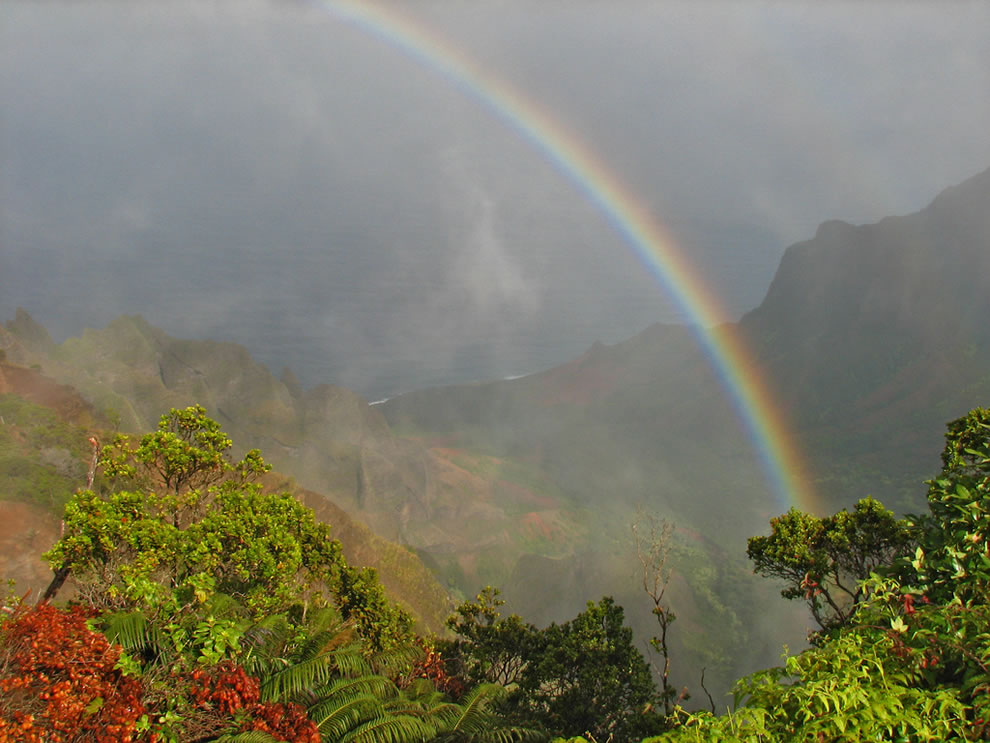 Rainbow over Na Pali Coast taken from the top of the Waimea Canyon