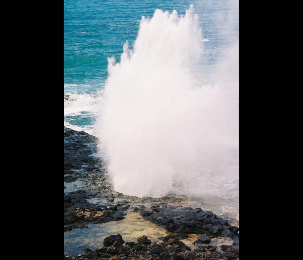 Spouting Horn, located on the southern coast of Kaua'i