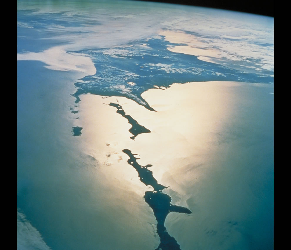 The Chishima Islands and Hokkaido as seen from the space shuttle
