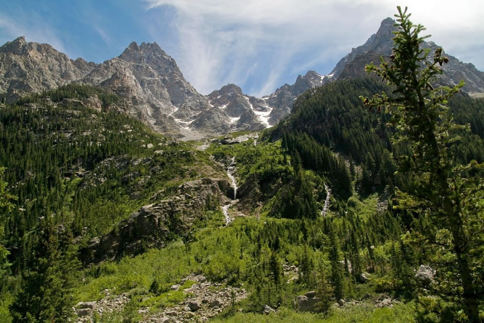 Grand Tetons and waterfalls