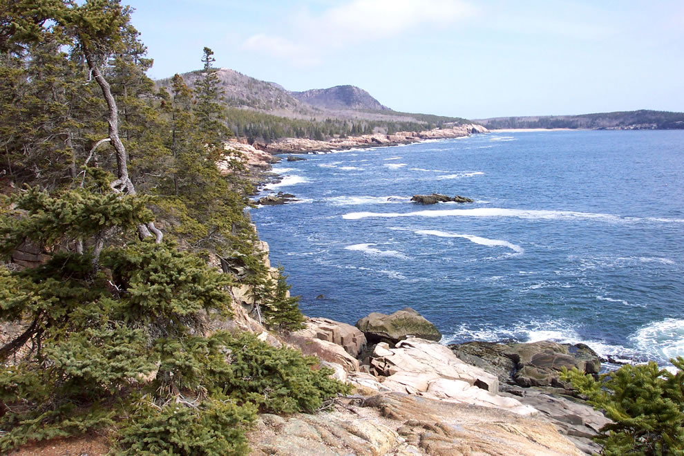 Maine, Mt. Desert Island, Acadia National Park -- Looking north to the Sand Beach area from the Otter Cliffs