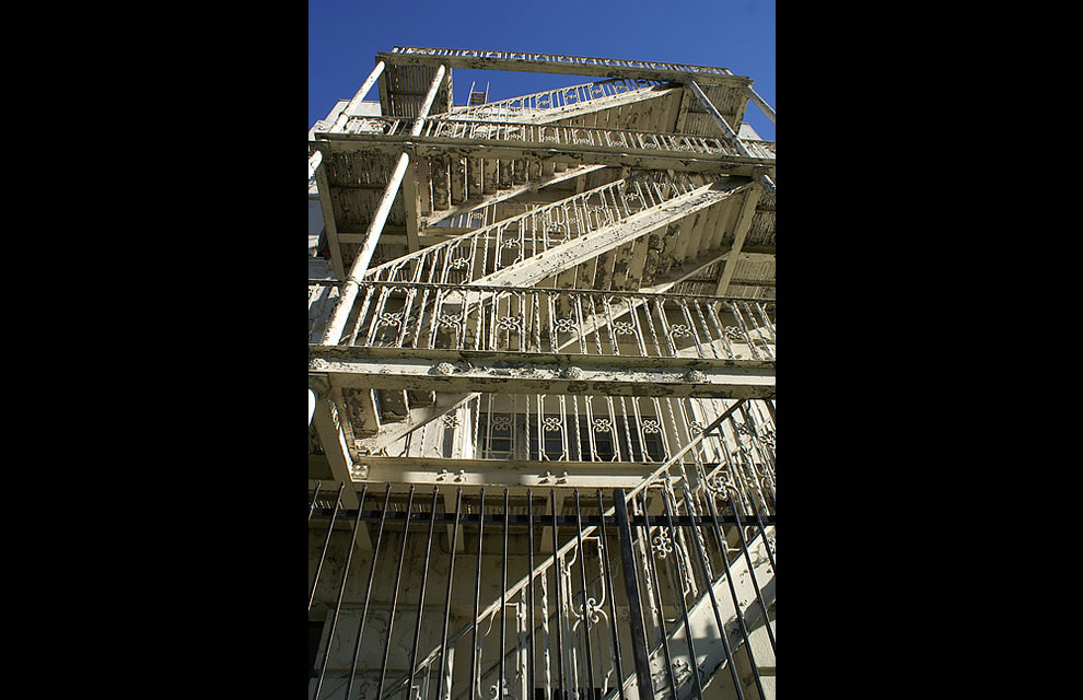 Forlorn fire escape at abandoned Linda Vista Community Hospital, Boyle Heights, Los Angeles