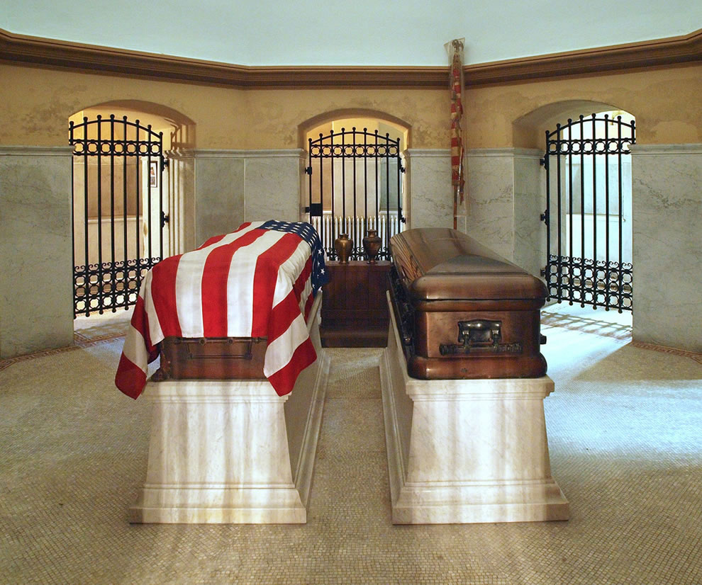 In the lower level of the Garfield Mausoleum is the crypt which contains the bronze coffins of President Garfield and his wife, Lucretia