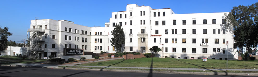 May 2012 -- Front of Linda Vista Community Hospital, formerly Santa Fe Coast Lines Hospital, 610-30 S. Louis St., Los Angeles, California
