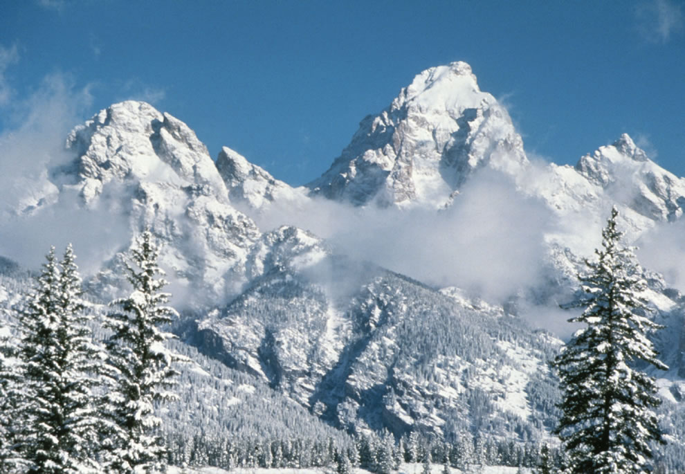 Middle Teton and Grand Teton in the winter