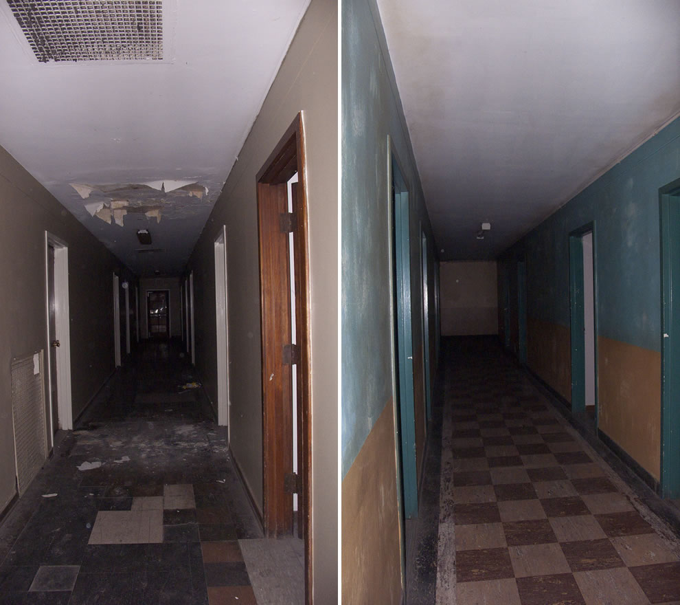 ghost hunting, urbex of two hallways, night at haunted and abandoned Linda Vista Hospital