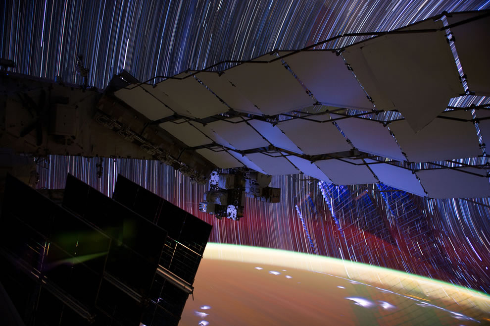 Incredible long exposure photography from space, star trails as seen from the ISS
