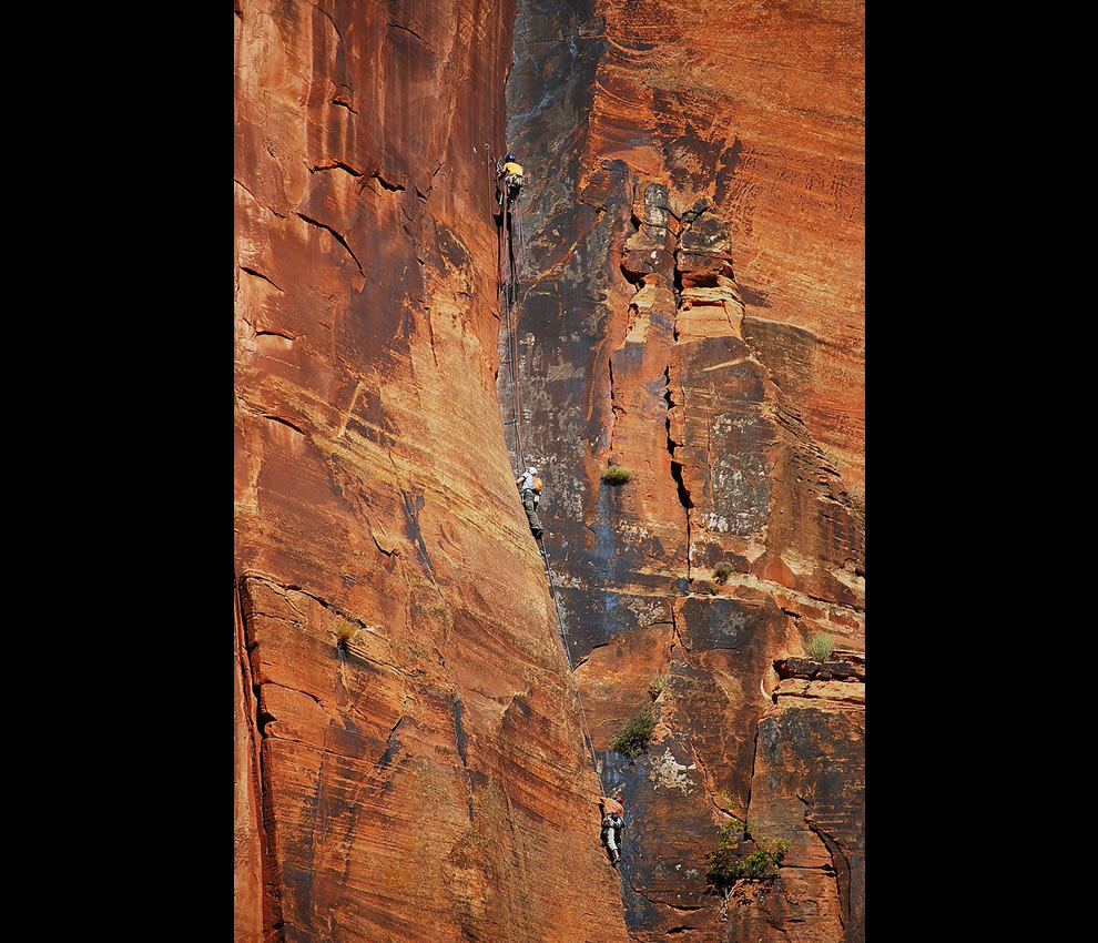 Rock climbers explore Zion Canyon's vertical world
