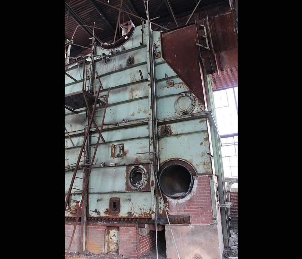 Rusted, crusted Emge Foods boiler