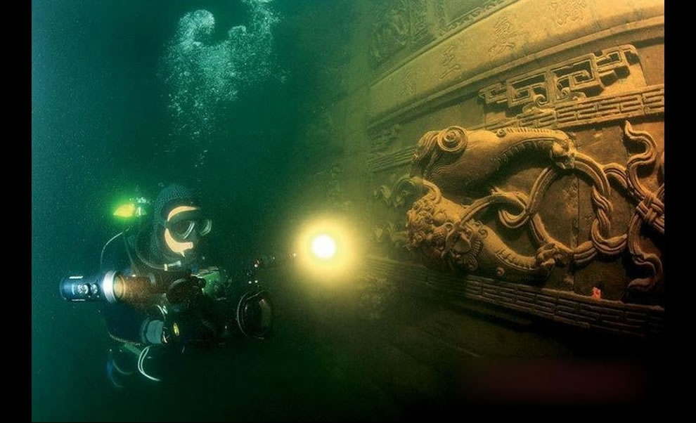 Underwater film crew explored Qiandao Lake and the ancient Lion City that was sunk half a century ago to build the Xin -- an Jiang hydropower station