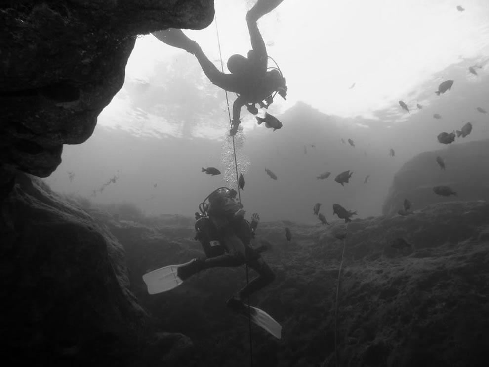 Black & white photo Vortex Springs divers