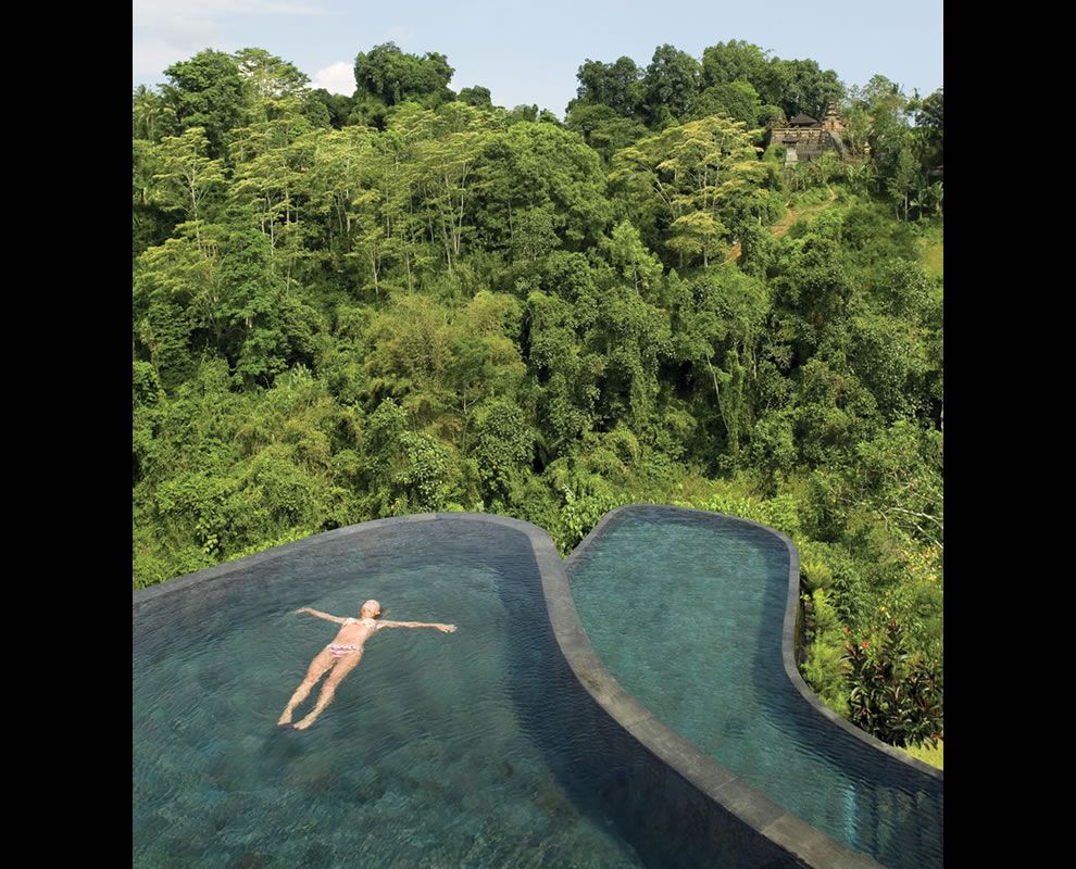 pics photos hanging infinity pools in bali at ubud hotel resort