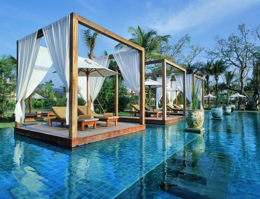 The Sarojin infinity swimming pool at the luxury Khao Lak Resort Hotel in Thailand