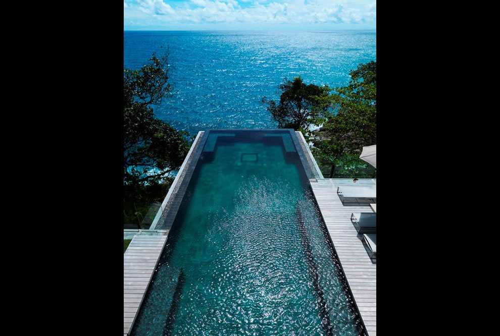 Villa Amanzi is a gorgeous residence in Thailand built into a rock face facing the Andaman Sea Villa Amanzi in Phuket, Thailand