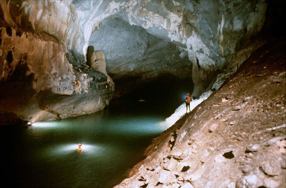 Swimming in Phong Nha Cave, Vietnam