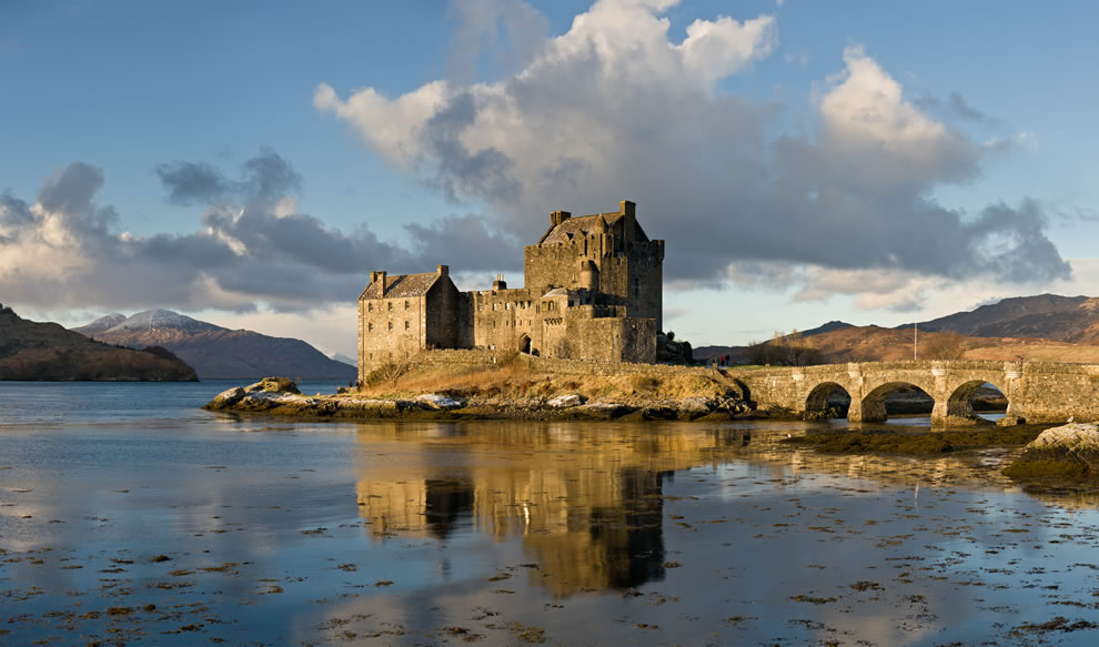 Eilean Donan Castle, as viewed from the south-east at sunrise