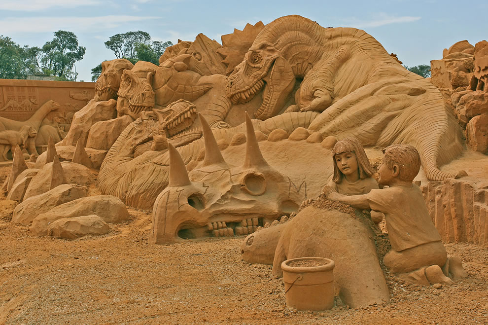 Dinosaur sand sculptures at the Sand Sculpting Australia 'Dinostory' exhibit held at Frankston, Victoria, Australia