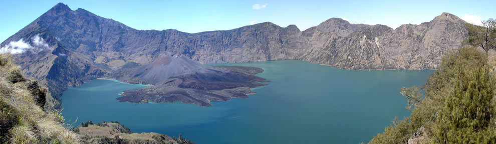In Indonesia, Lake Segara Anak, Mount Rinjani, Lombok