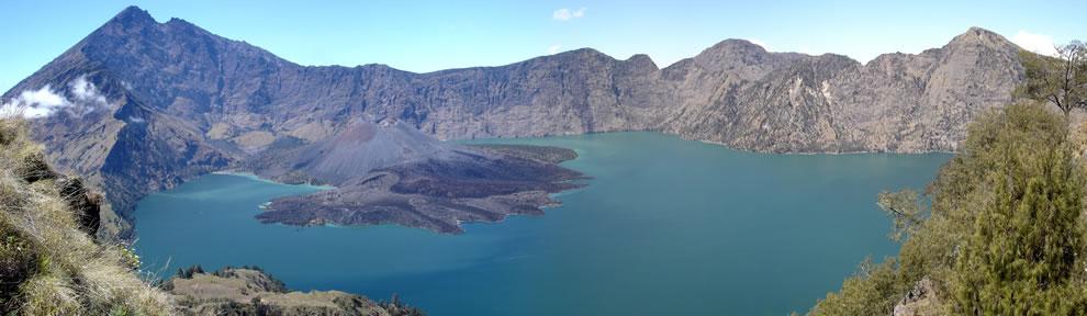 In Indonesia, Lake Segara Anak, Mount Rinjani, Lombok
