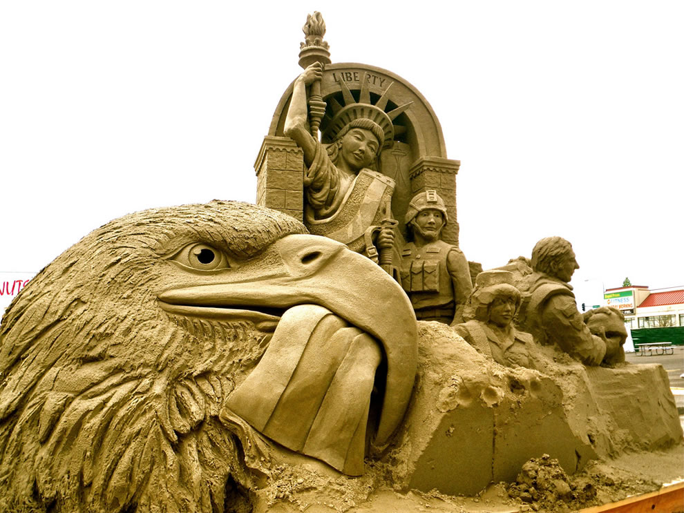 Lady Liberty sand sculpture