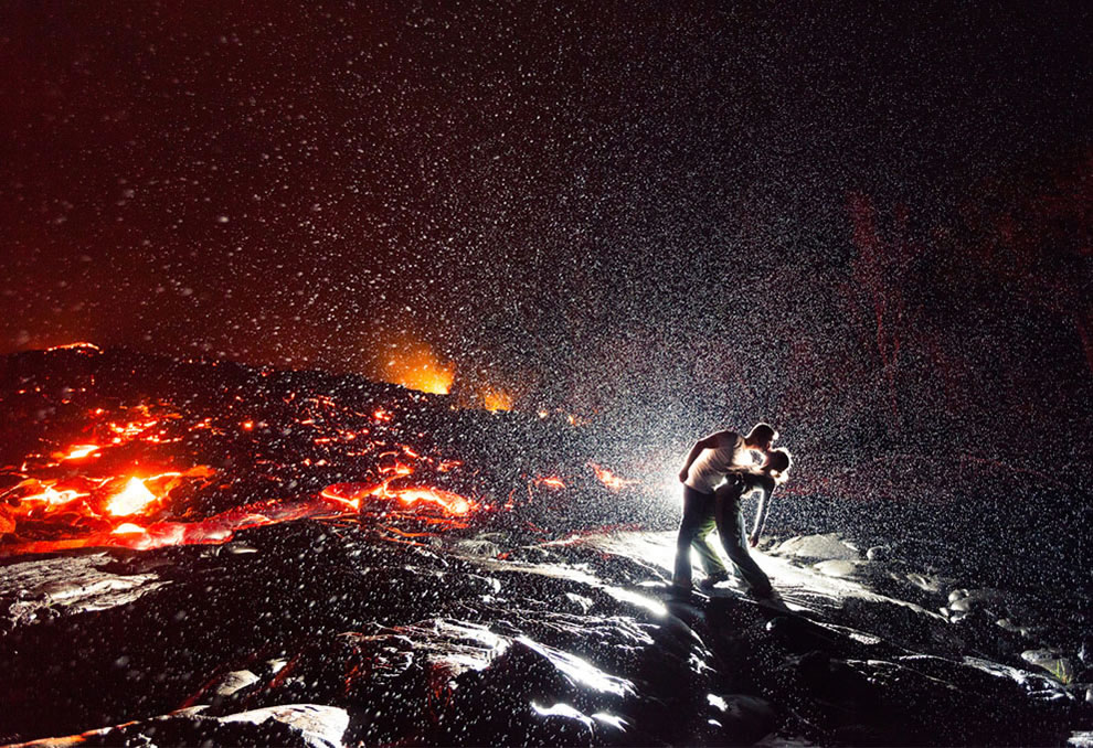 Lava Kiss. Spontaneous hot moment on Kalapana, Hawaii