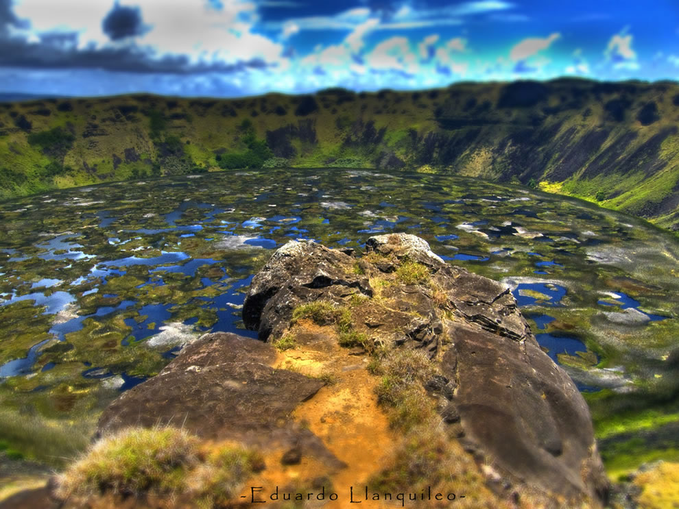 Rano Kau has a crater lake which is one of Easter Island&#039;s only three natural bodies of fresh water