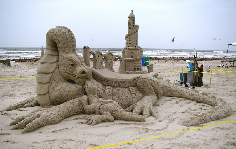 Sand Fest, Port Aransas, Texas - Amazin' Walter and William Lloyd carved this sculpture titled 'House Broken'