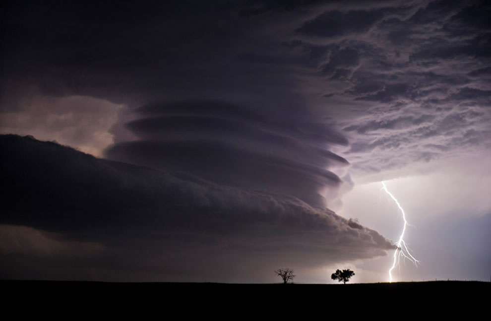 Stacked Supercell with Lightning
