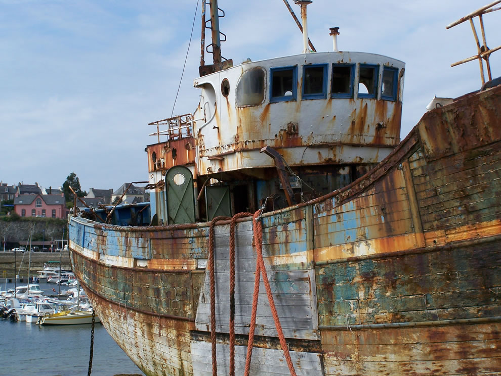 Abandoned bateau camaret left to die at Shipwreck graveyard in Camaret-sur-Mer