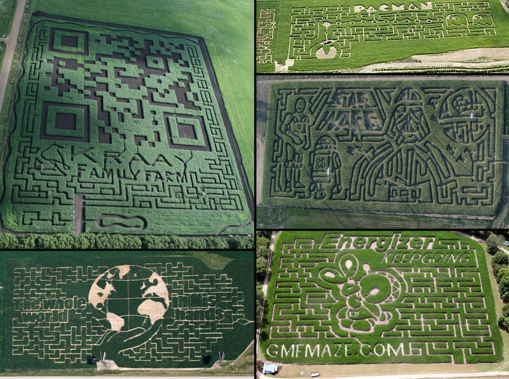 Aerial corn mazes World's largest QR code, pacman, Star Wars, Engergizer Bunny, Whole world in hand