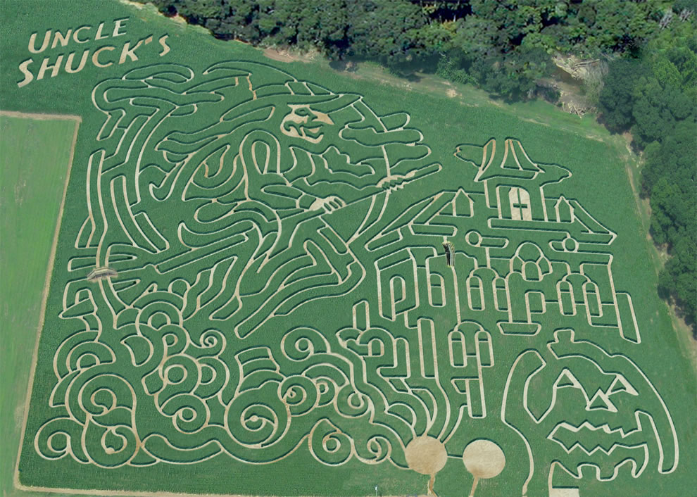 Aerial of Uncle Shuck's Halloween-themed corn maze