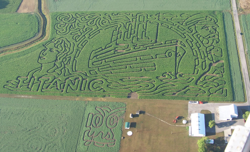Aerial photo of Titanic themed corn maze
