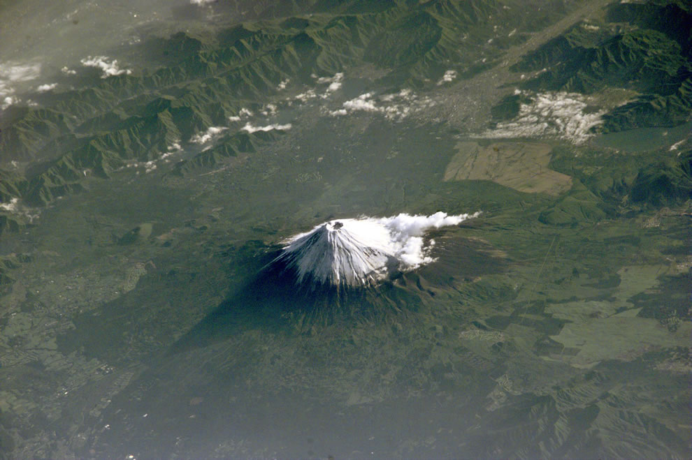 Aerial photograph of Mount Fuji taken from the ISS