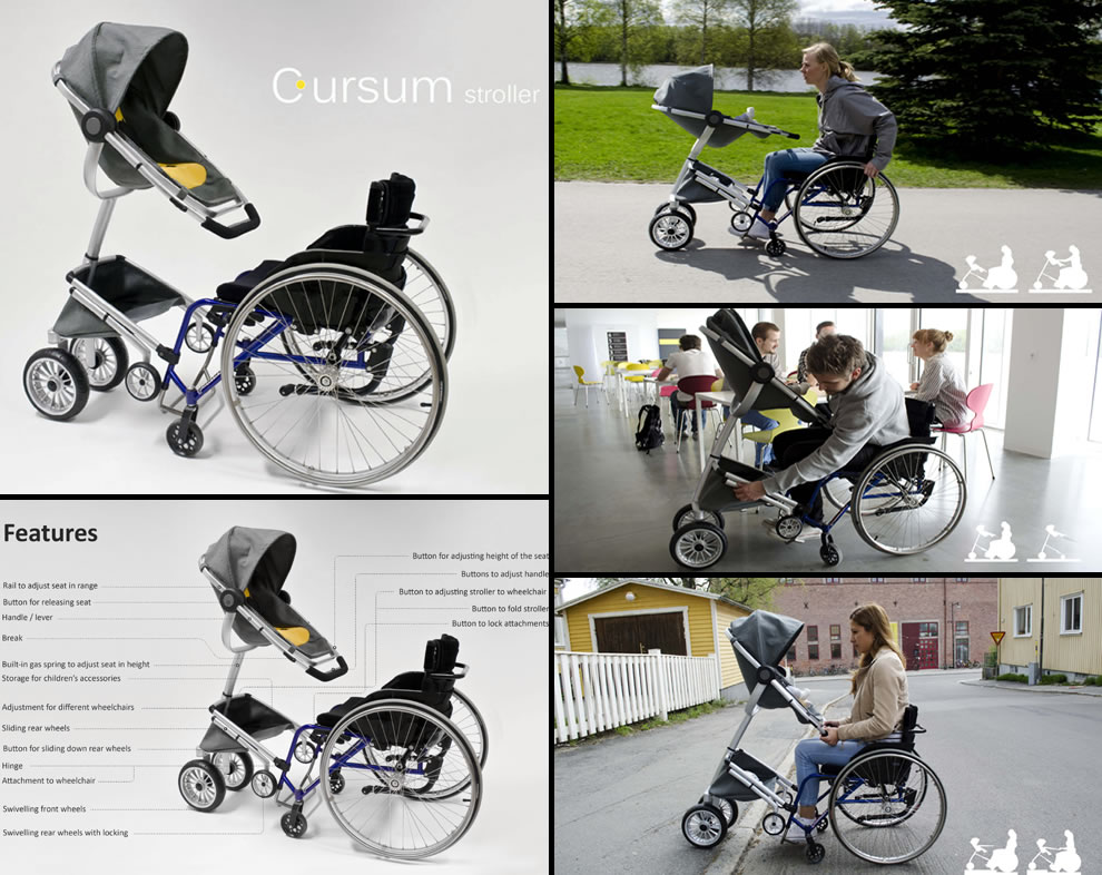 Cursum - Stroller for wheelchair users, wheelchair stroller design concepts