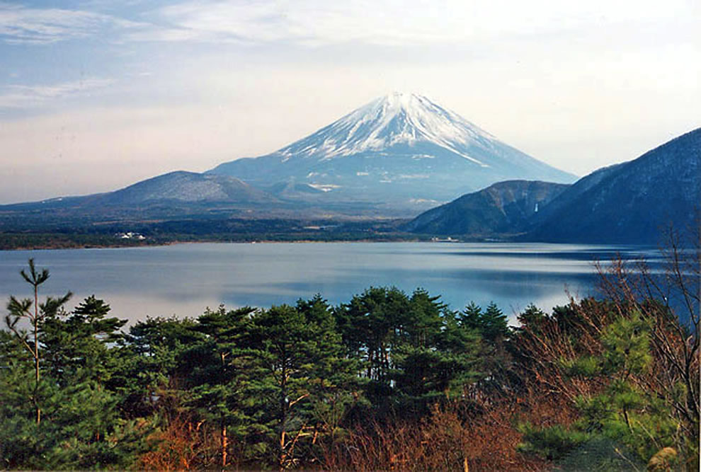 Fuji Five Lakes area of Lake Motosu with Mount Fuji in the background