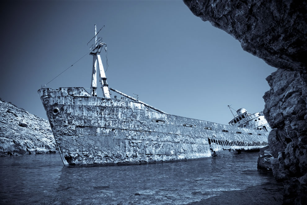 Hauntingly beautiful wreck on the island of Amorgos in the Greek Cyclades - monochrome