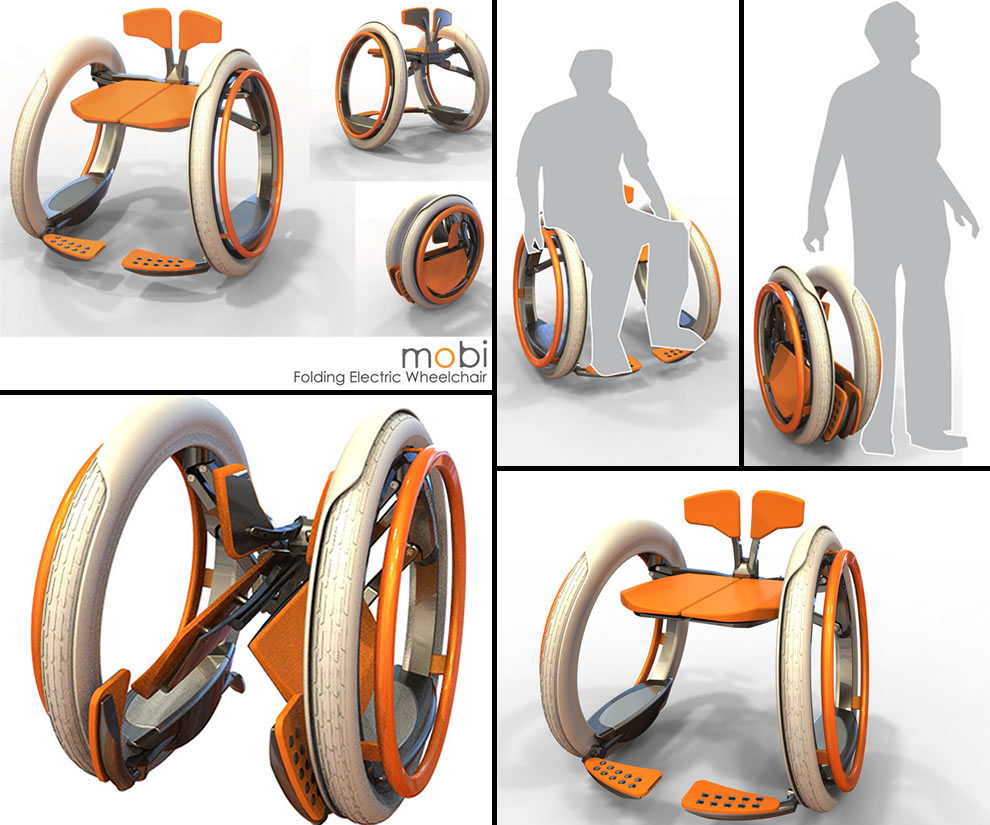 Electric bike adaption for wheel chair youtube - Mobi Electric Folding Wheelchair Concept By Designer Jack Martinich