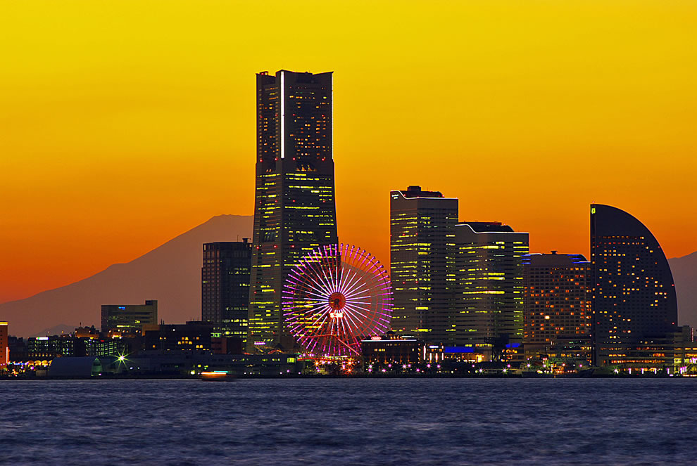 Mount Fuji from from Yokohama, Japan