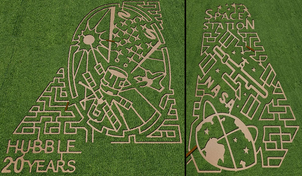 NASA corn maze in New York and in Nebraska