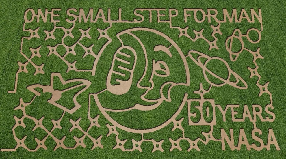 NASA-themed corn maze at Dewberry Farm in Brookshire, Texas. Photo credit- The MAiZE Inc