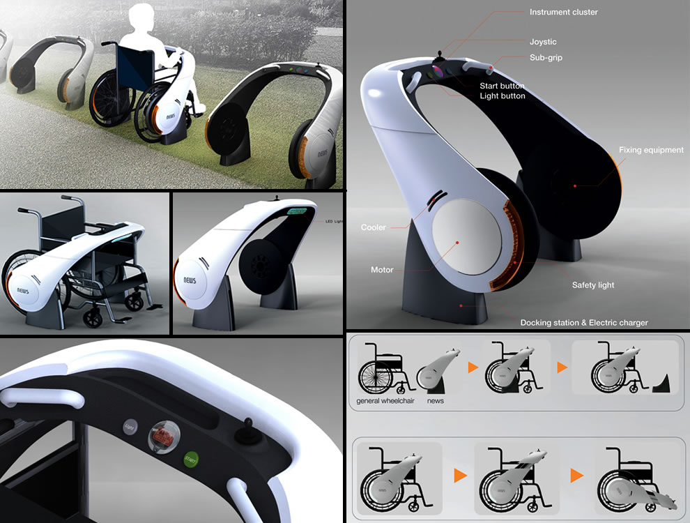 NEWS (New Electric Wheelchairs) by designer Ju Hyun Lee wheelchair design concepts