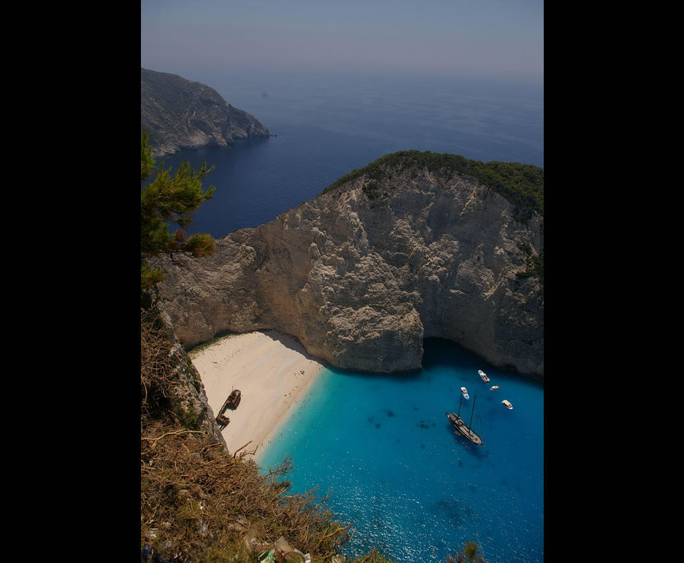 Famous shipwreck on the beach at Navagio Bay, Zakynthos Island, Greece