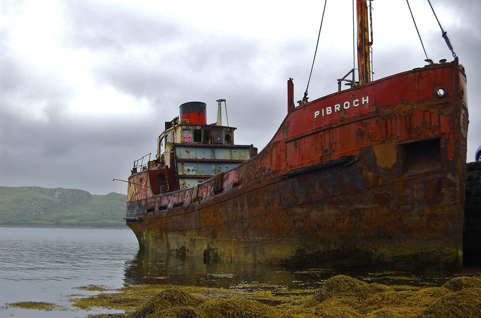 Rusty hulk of abandoned ship in Ireland