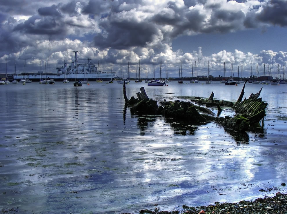 Ship graveyard at Hardway, Gosport, England
