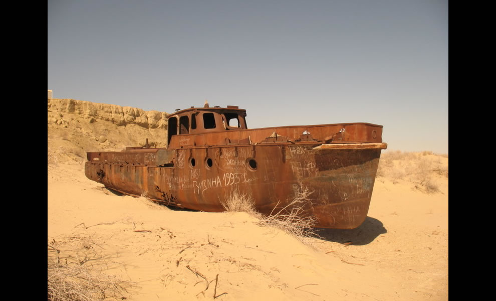 Ship that didn't wreck, one of the rusting hulks at Moynaq, in what used to be the Aral Sea, Uzbekistan