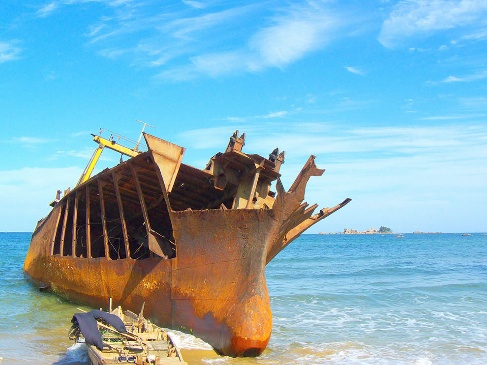 Shipwreck, Beach Near Lake Sijung, North Korea