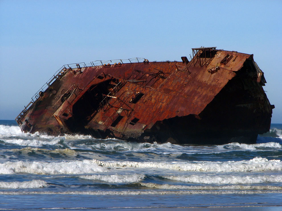 Shipwrecked remains of the New Carissa at Coos Bay, Oregon