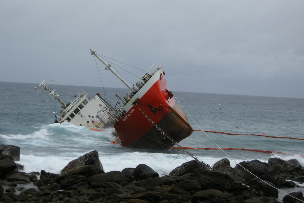 The Colombo Queen ran aground during Tropical Storm Linfa on June 21, 2009